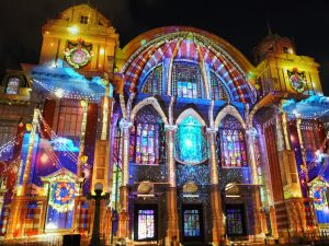 Projection mapping on building.